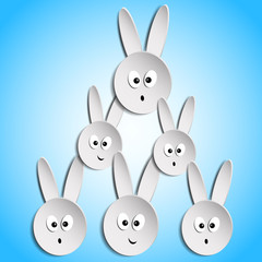 Easter bunnies on a blue background