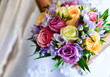 Wedding bouquet with colorful roses