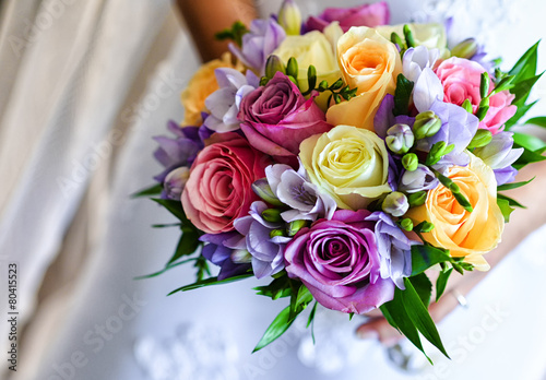 Aluminium Rozen Wedding bouquet with colorful roses