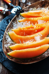 Fresh melon with ice
