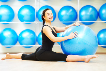 split stretching exercises with fitness ball