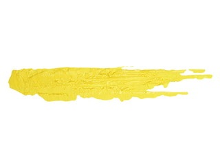 photo yellow grunge brush strokes oil paint isolated on white