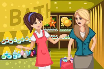 Women in a soap store