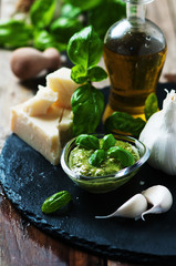 Italian traditional pesto with basil, chesse and oil