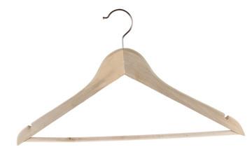 Wooden coat hanger on white