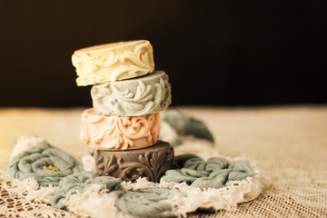 colorful handmade soap, decorated with patterns