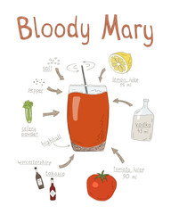 Hand Drawn Illustrtion Of Bloody Mary Cocktail Recipe