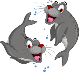 cute couple Seal cartoon
