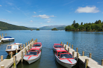 Windermere Lake District England uk pleasure boats in summer