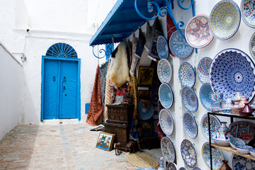 Market traditional souvenirs on the streets of Sidi Bou Said