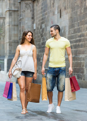 Man and woman doing shopping