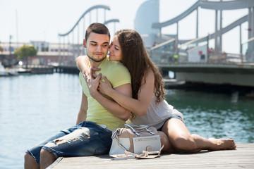 Couple sitting on berth