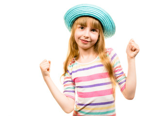girl with hat smiling