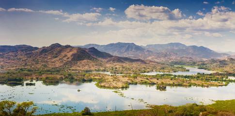 Panoramic view of Lempa river reservoir in El Salvador