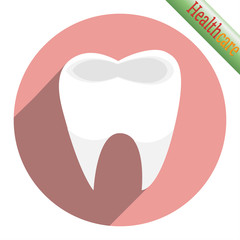 Tooth icon on pink background.