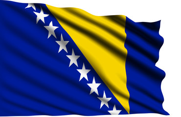 Bosnia and Herzegovina flag with fabric structure
