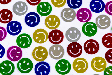 Many colorful smileys background
