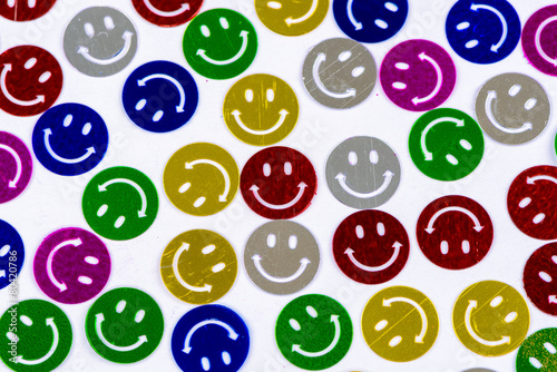 Many colorful smileys background