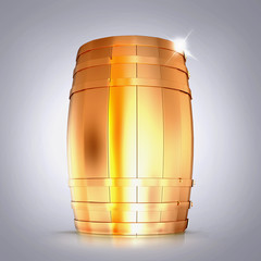 Golden  barrel  on a grey background.
