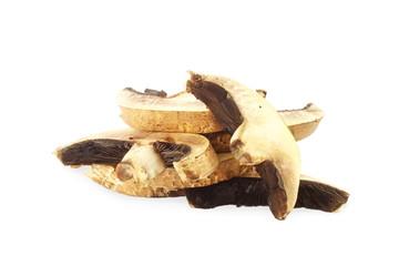 portabella mushroom slice in pure white background