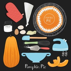 Homemade thanksgiving pumpkin pie preparation set.