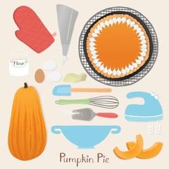 Homemade thanksgiving pumpkin pie preparation set.