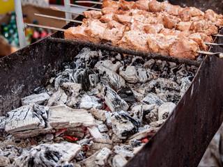 grilled meat skewers vegetables barbecue