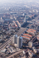 aerial view of a Wrocław city