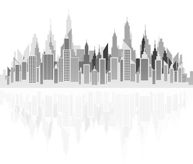 Modern City Skyline Silhouette On White With Reflection