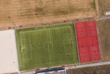 Aerial view of a football ground in Wrocław city