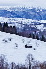 Wooden barn in the mountains