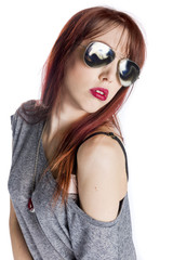 Fashionable Young Woman Wearing Aviator Sunglasses
