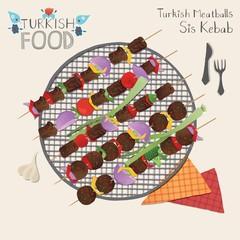 Sis kebab, meatball. Turkish food elements set.