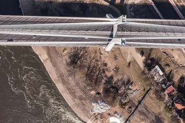aerial view of bridge in wroclaw city