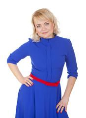 Blonde woman portrait in blue dress