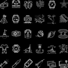 Scuba diving white line icons collection