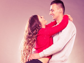 Smiling young couple in love