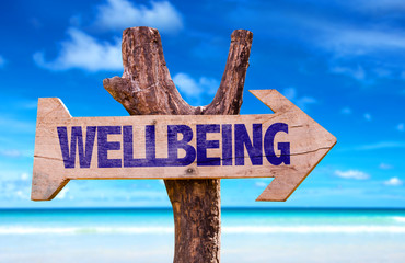 Wellbeing sign with a beach on background