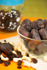 Dates, raisins and cashew nuts