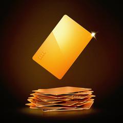 Golden bussines card on black background