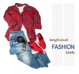 Boy friend trendy look costume on white background