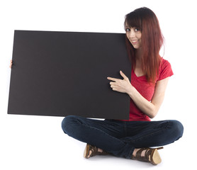 Sitting Woman with Black Cardboard with Text Space