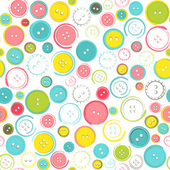 Seamless Pattern with Decorative Sewing Buttons over White