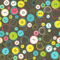 Seamless Pattern with Decorative Sewing Buttons over Brown