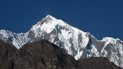 Majestic peak of the Annapurna Range, high mountain in Nepal