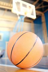 Closeup basketball on the floor
