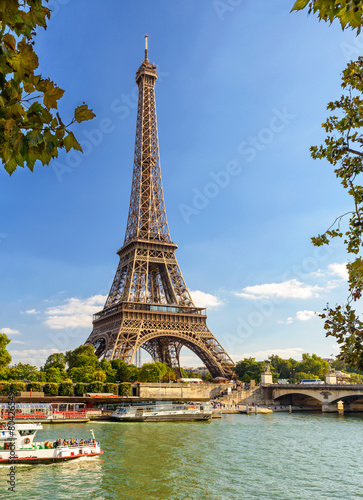 The Eiffel tower from the river Seine in Paris - 80426549