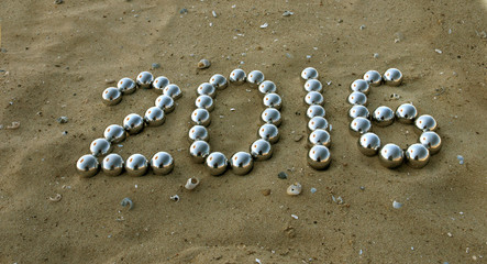 number 2016 on the sand