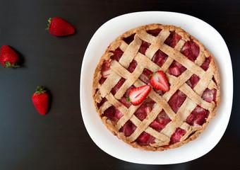 Homemade strawberry and rhubarb pie