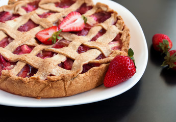 Homemade strawberry and rhubarb pie close-up